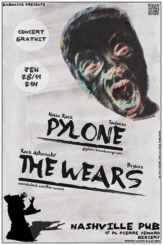 PYLONE + THE WEARS le 28/11 au Nashville Pub à Béziers (34) Concert_28112013